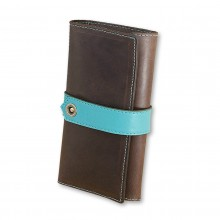 Premium cow leather handmade wallet EL-PM-3 Brown / Light Blue
