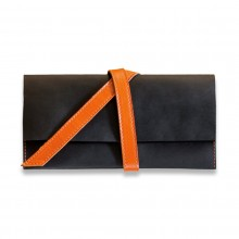 Premium cow leather handmade travel case EL-TK-1 Black / Orange