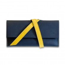 Premium cow leather handmade travel case EL-TK-1 Midnight Blue / Yellow