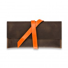 Premium cow leather handmade travel case EL-TK-1 Brown / Orange