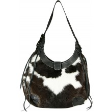 Genuine cow with hair on leather bag CHA002 Black / Brown / White