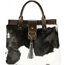 Genuine cow with hair on leather bag CHA003 Black / Brown / White