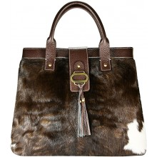 Genuine cow with hair on leather bag CHA003 Brown
