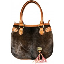 Genuine cow with hair on leather bag CHA006 Brown