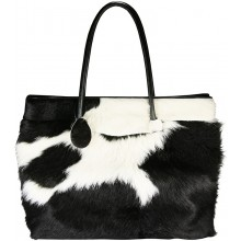 Genuine cow leather with hair on bag CHA123 Black / White