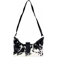 Genuine cow with hair on leather bag CHA344 Black / White
