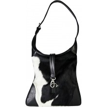 Genuine cow with hair on leather bag CHA619 Black / White