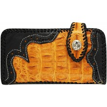 Genuine crocodile and cow leather wallet CRWLF402 Black / Tan