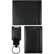 Cow leather bifold wallet, card holder, key chain set CSET02S Black