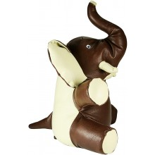 Genuine cow leather toy elephant ELEPHANT01 Brown / Beige