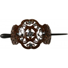Coconut with silver inlay hair skewer barrette H205