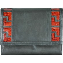 Genuine calf / chicken / hen leather wallet HWAL002 Black / Brown