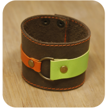 Premium cow leather handmade bracelet EL-2045-3C Brown / Light Green / Orange