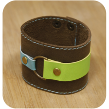 Premium cow leather handmade bracelet EL-2045-3C Brown / Light Green / Light Blue
