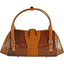 Genuine alligator and sea snake leather bag ISALB444 Brown