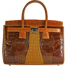 Genuine alligator and snake leather bag ISALB666 Brown