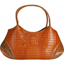 Genuine alligator and sea snake leather bag ISALB881 Tan