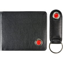 Genuine cow leather wallet & key ring set JS1803 Black