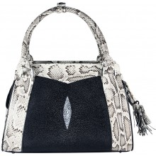 Genine python and stingray leather bag JSNB025PT-ST Natural / Black