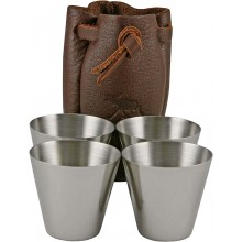 Genuine moose leather shot glasses set MOOSEGL475 Brown