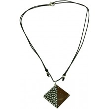 Coconut shell with sterling silver inlay necklace N119