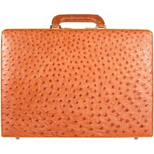Genuine ostrich leather attache case OS044-01 Peanut