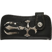 Genuine python and cow leather wallet PTWLF295 Black / Natural