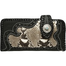 Genuine python and cow leather wallet PTWLF408 Black / Natural