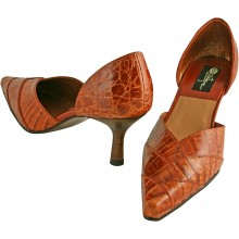 Genuine alligator leather shoes R-012 Cognac