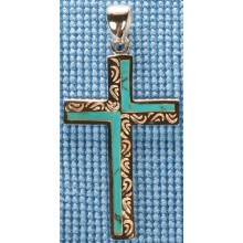 Sterling silver cross with turquoise inlay SCROSS001-2