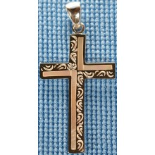 Sterling silver cross with white shell inlay SCROSS001-4
