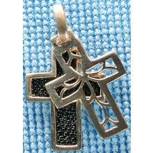 Sterling silver cross with stingray leather inlay SCROSS002