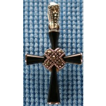 Sterling silver cross with onyx inlay SCROSS004