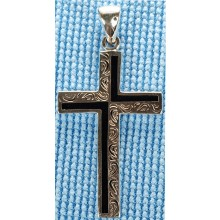 Sterling silver cross with onyx inlay SCROSS001-1