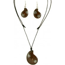 Coconut shell with sterling silver inlay set SN111SET