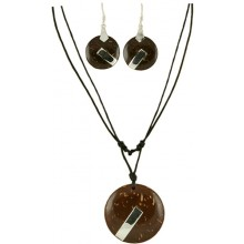 Coconut shell with sterling silver inlay set SN156SET