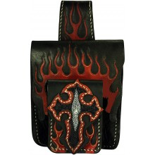 Genuine stingray / cow leather belt bag STPLP528 Black / Red