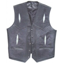 Genuine stingray leather vest STV001 Black