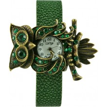 Fashion watch&stingray leather watch band STWAB1351-3 Dark Green