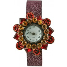 Fashion watch & stingray leather watch band STWAB1889-3 Burgundy