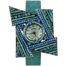 Fashion watch & stingray leather watch band STWAB2081 Sky Blue