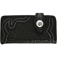 Genuine stingray and cow leather wallet STWLF366 Black