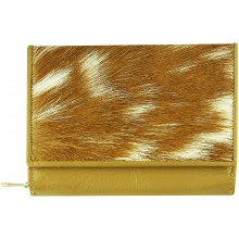 Genuine goat leather with hair on wallet TD1041 Camel